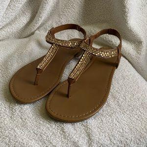 Gold Rhinestoned Sandals